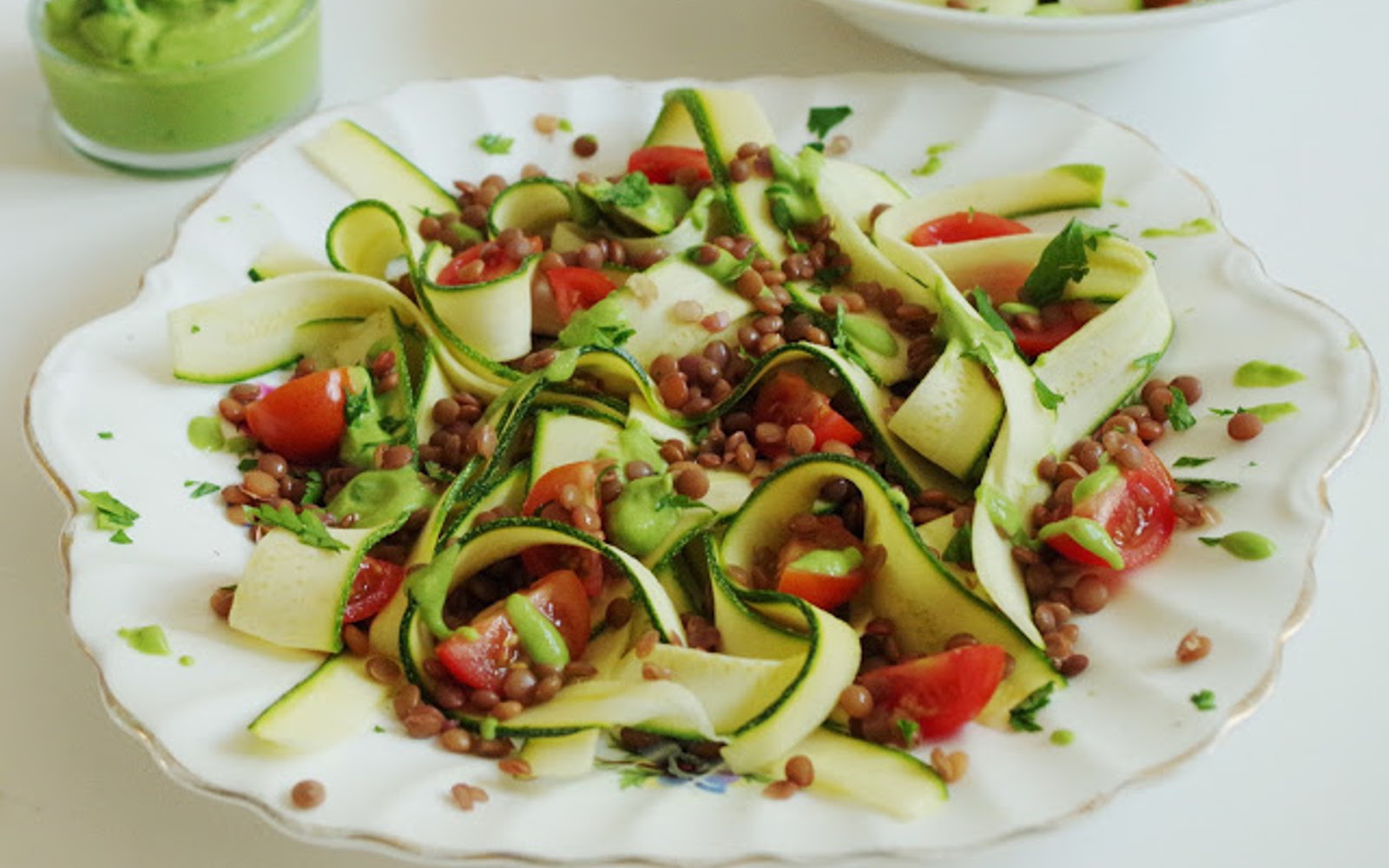 Zucchini Ribbons and Lentils