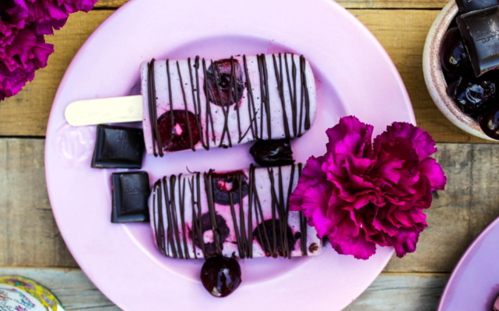Chocolate Cherry Ice Cream Pops