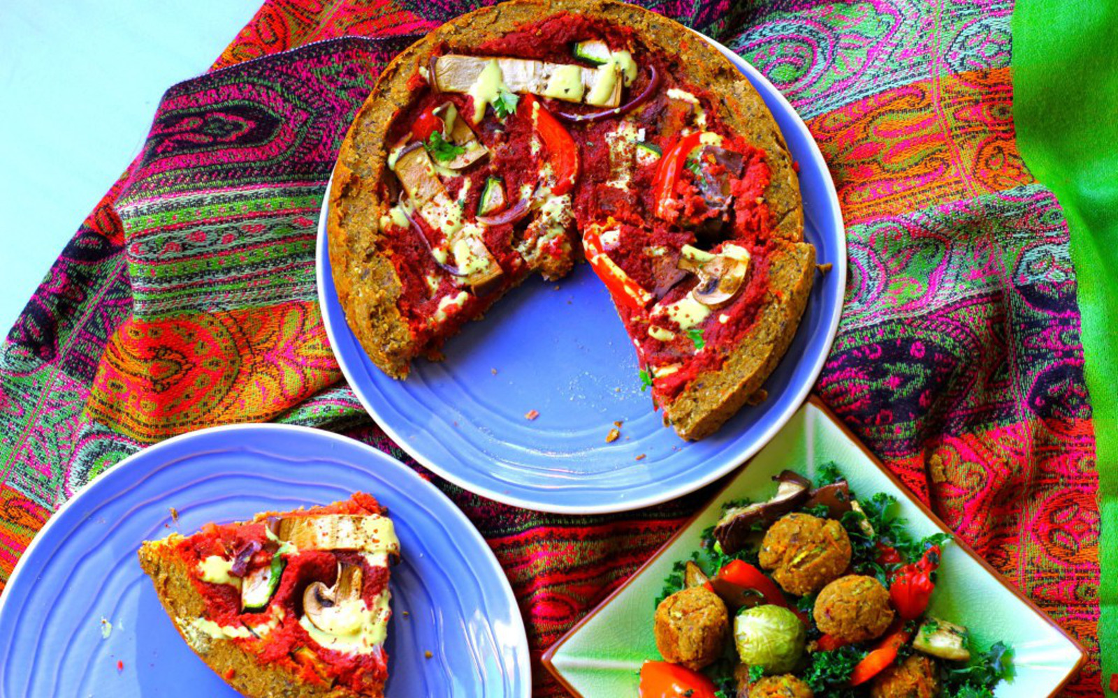 deep dish falafel pizza