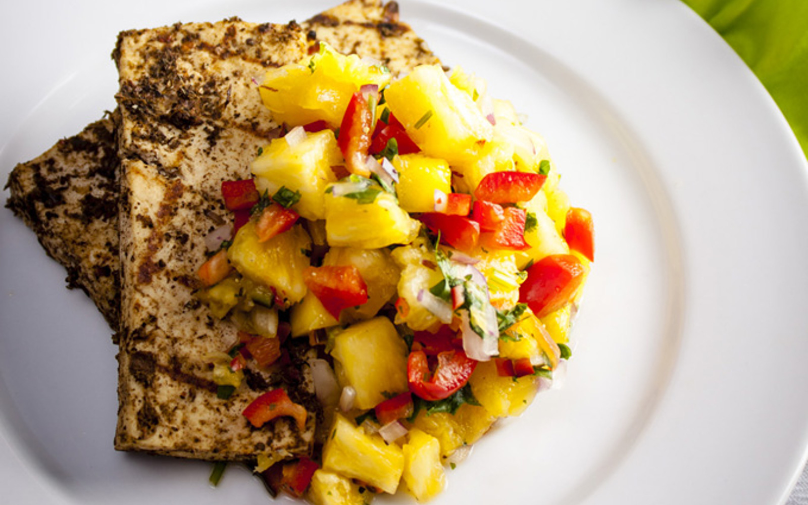 Grilled Jerk Tofu With Pineapple Salsa