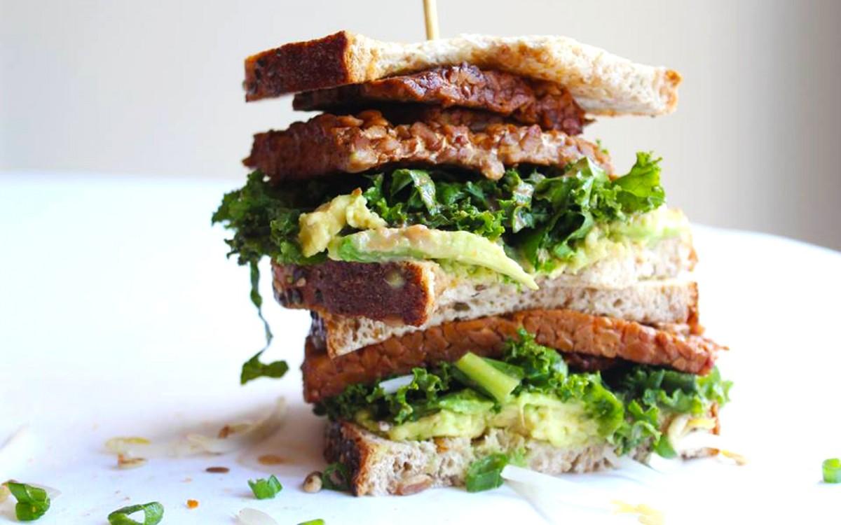 Korean BBQ Tempeh Sanwich With Kale Slaw