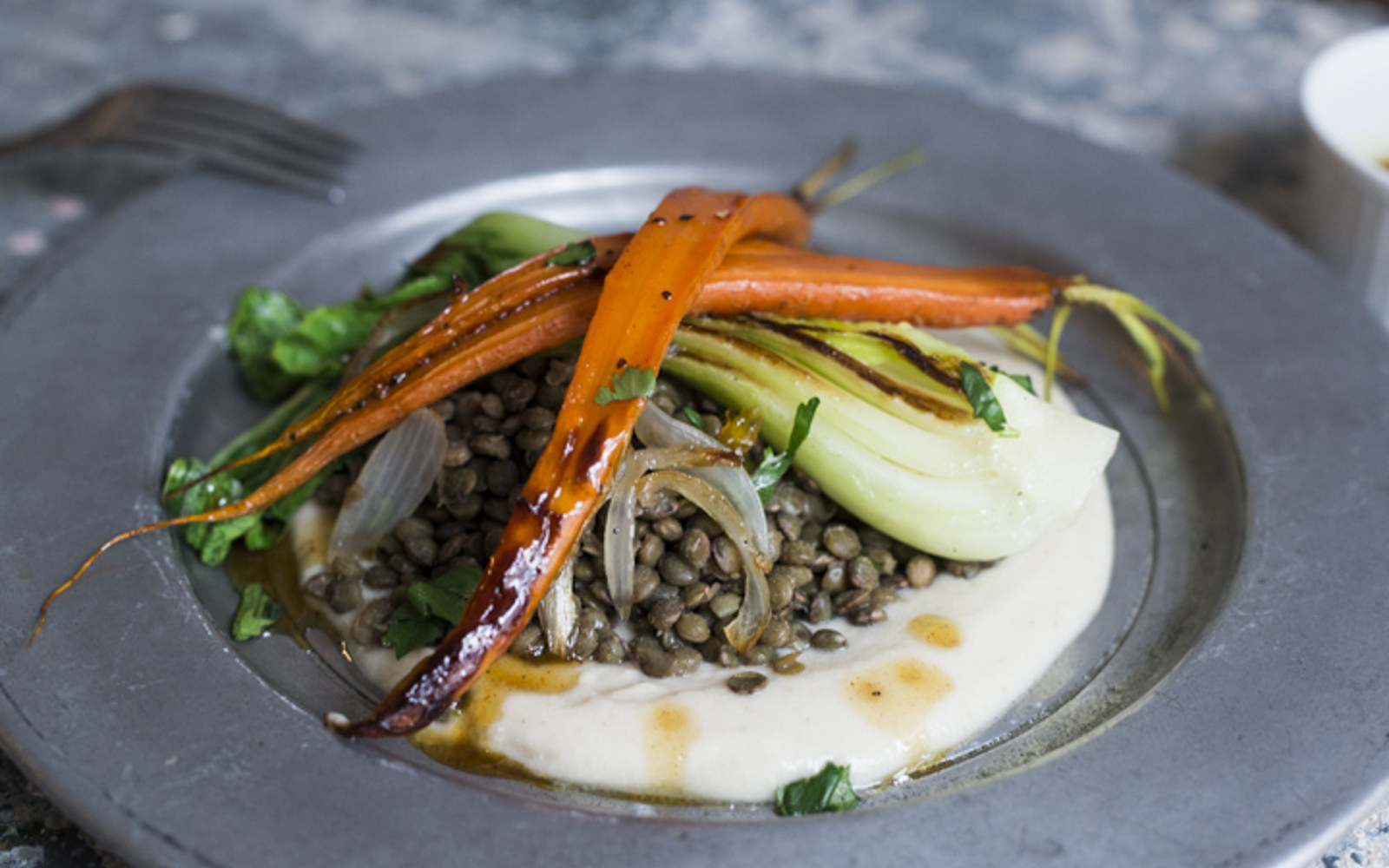 Maple Orange-Glazed Carrots With Sunchoke Cream