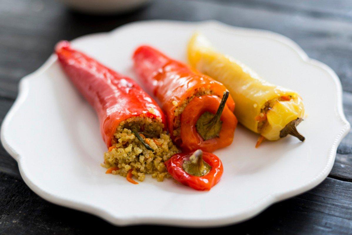 Quinoa Stuffed Peppers and Plum Tomato Salsa
