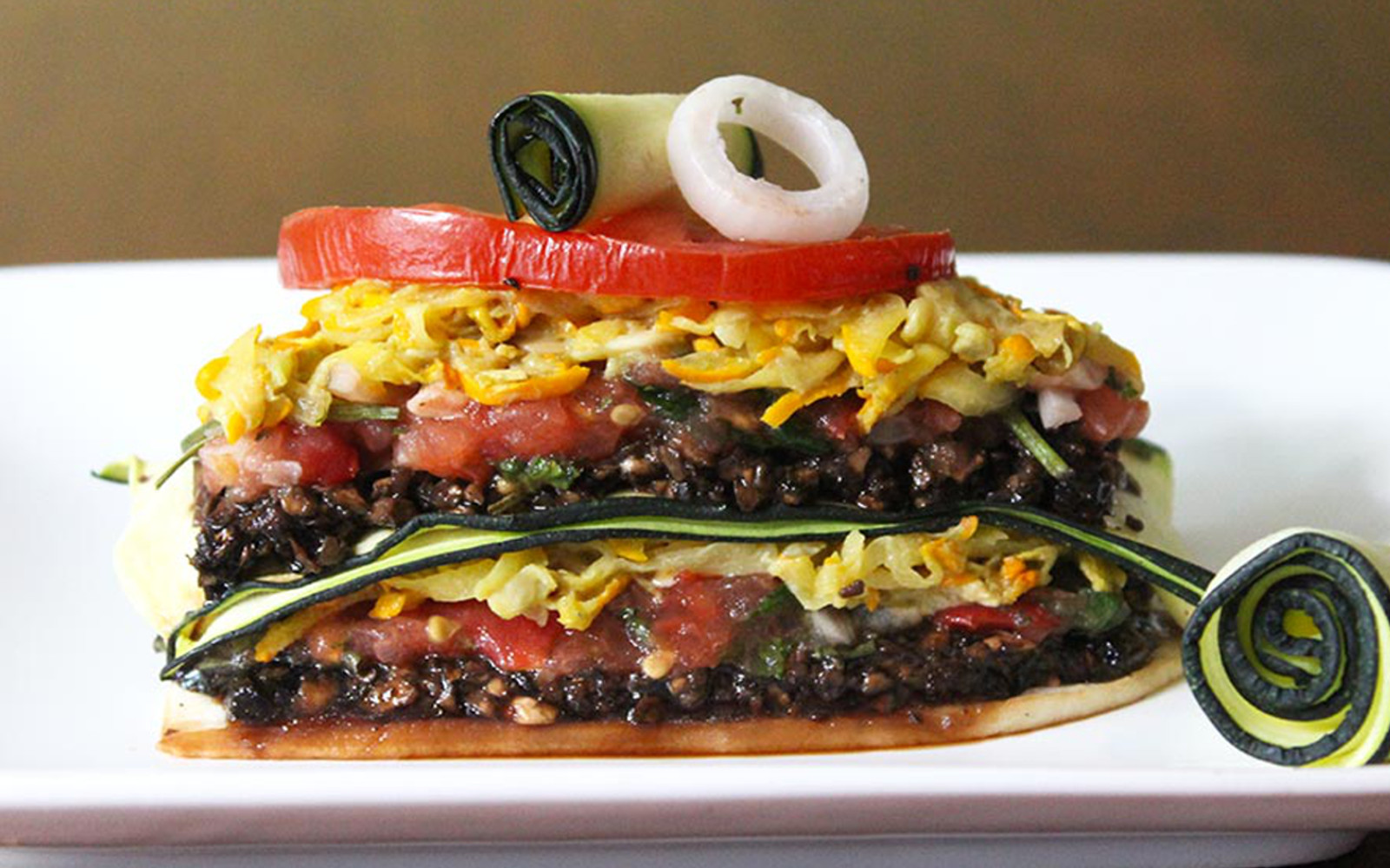 Raw Lasagna With Mushroom Meat and Zucchini Cheese