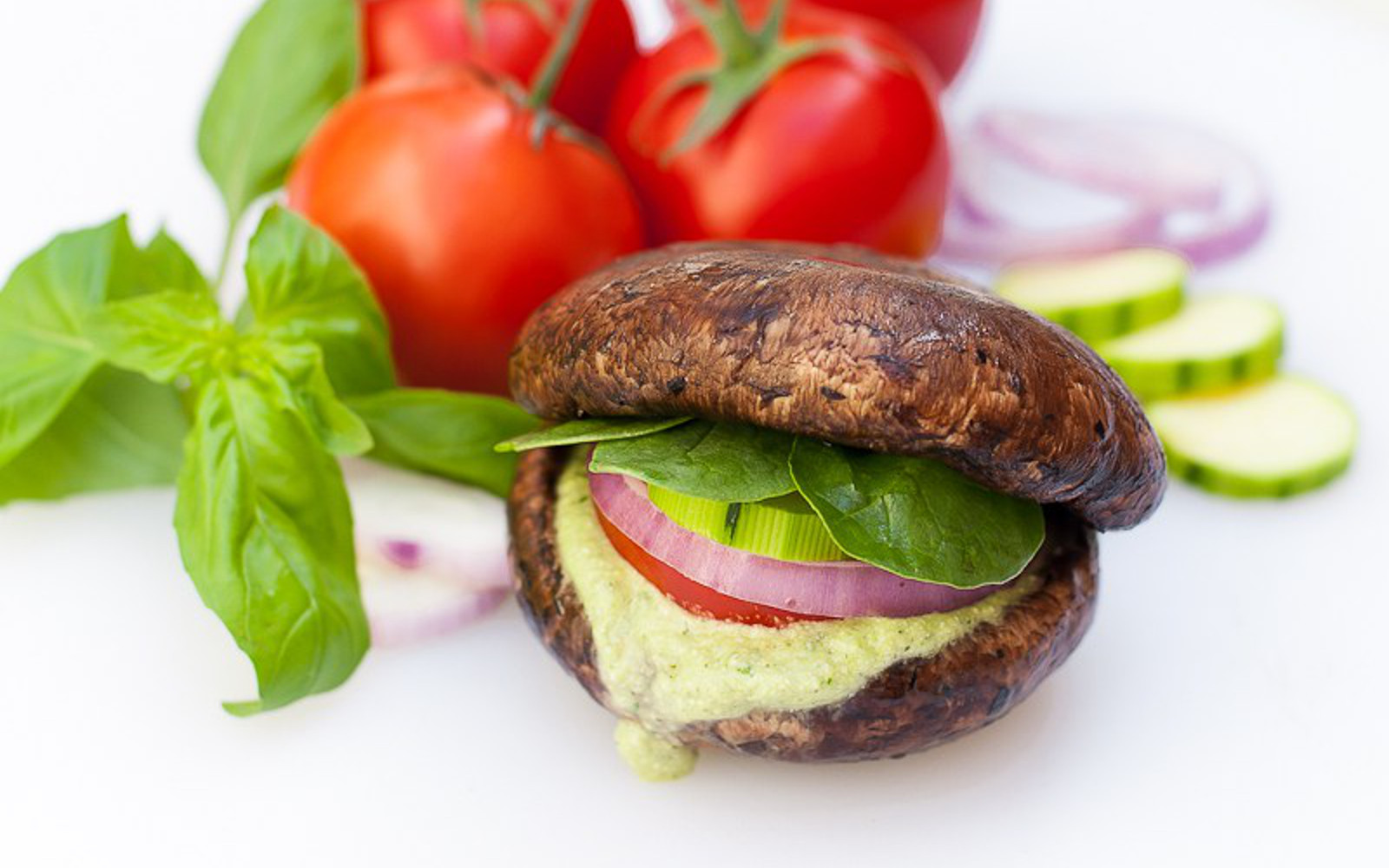 Raw Portobello Burgers with Hemp Cheese