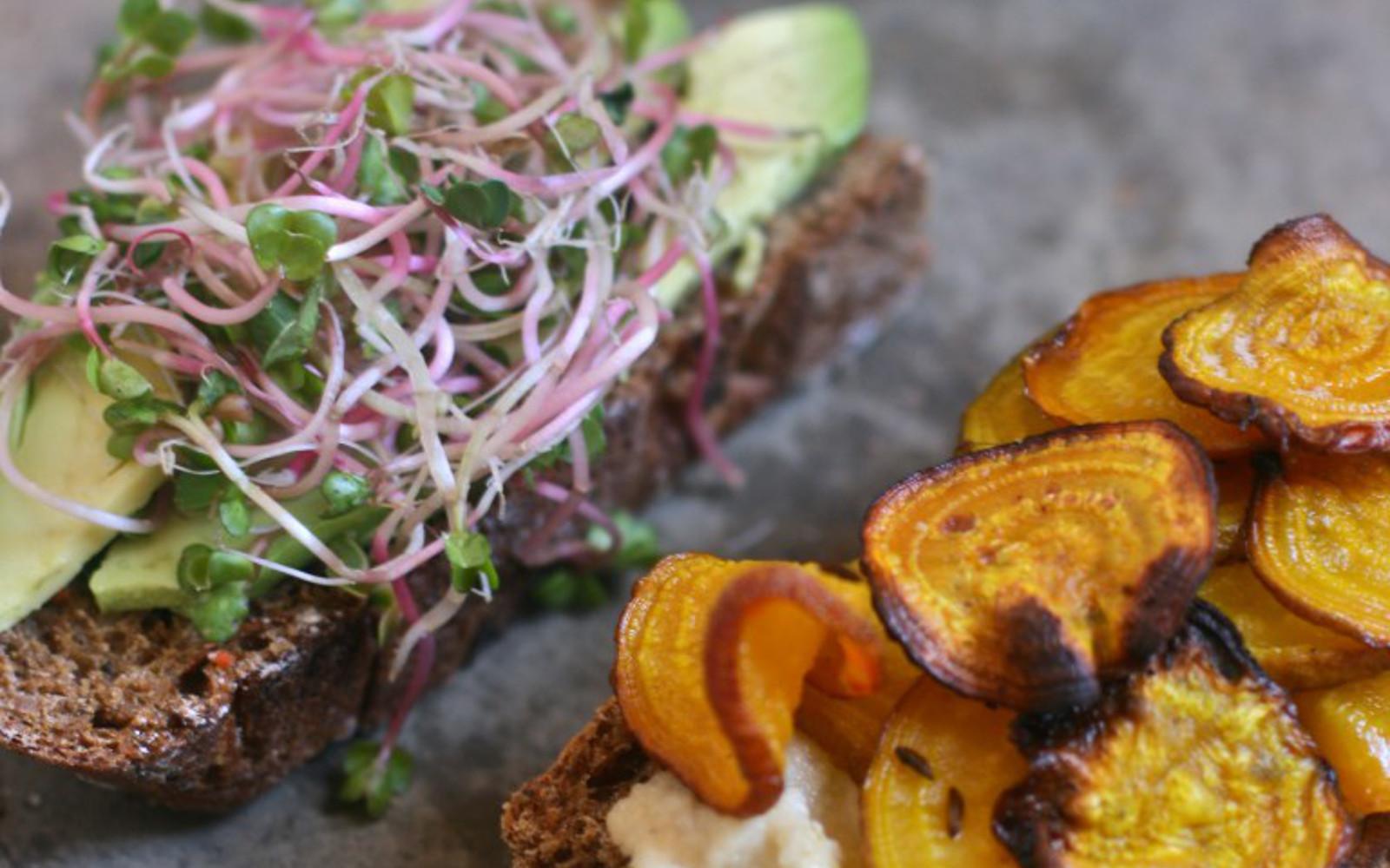 Roasted Beet Chip and Horseradish Cashew Spread Sandwich
