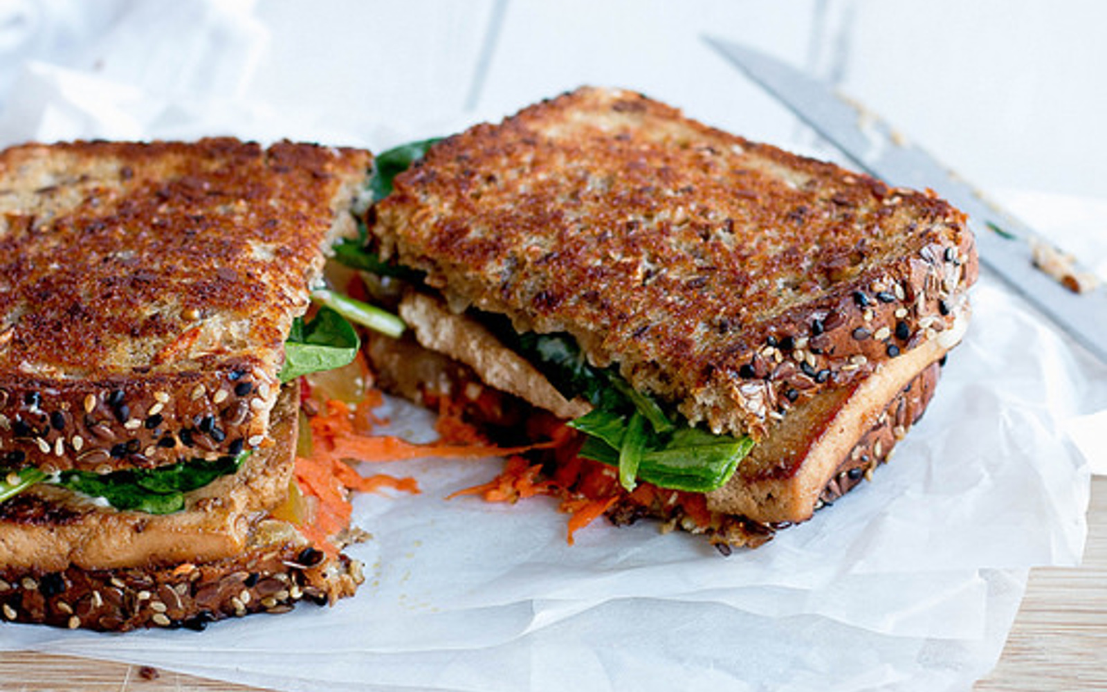 Grilled Marinated Tofu Sandwich