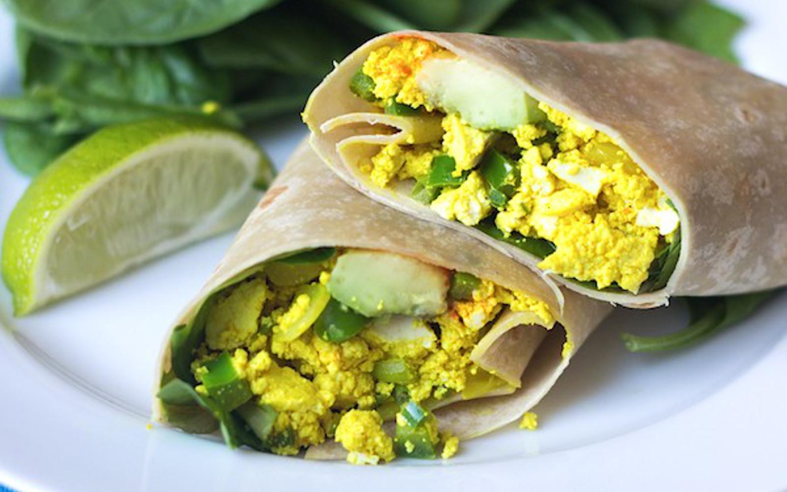 Spicy Tofu Scramble and Avocado Breakfast Burrito