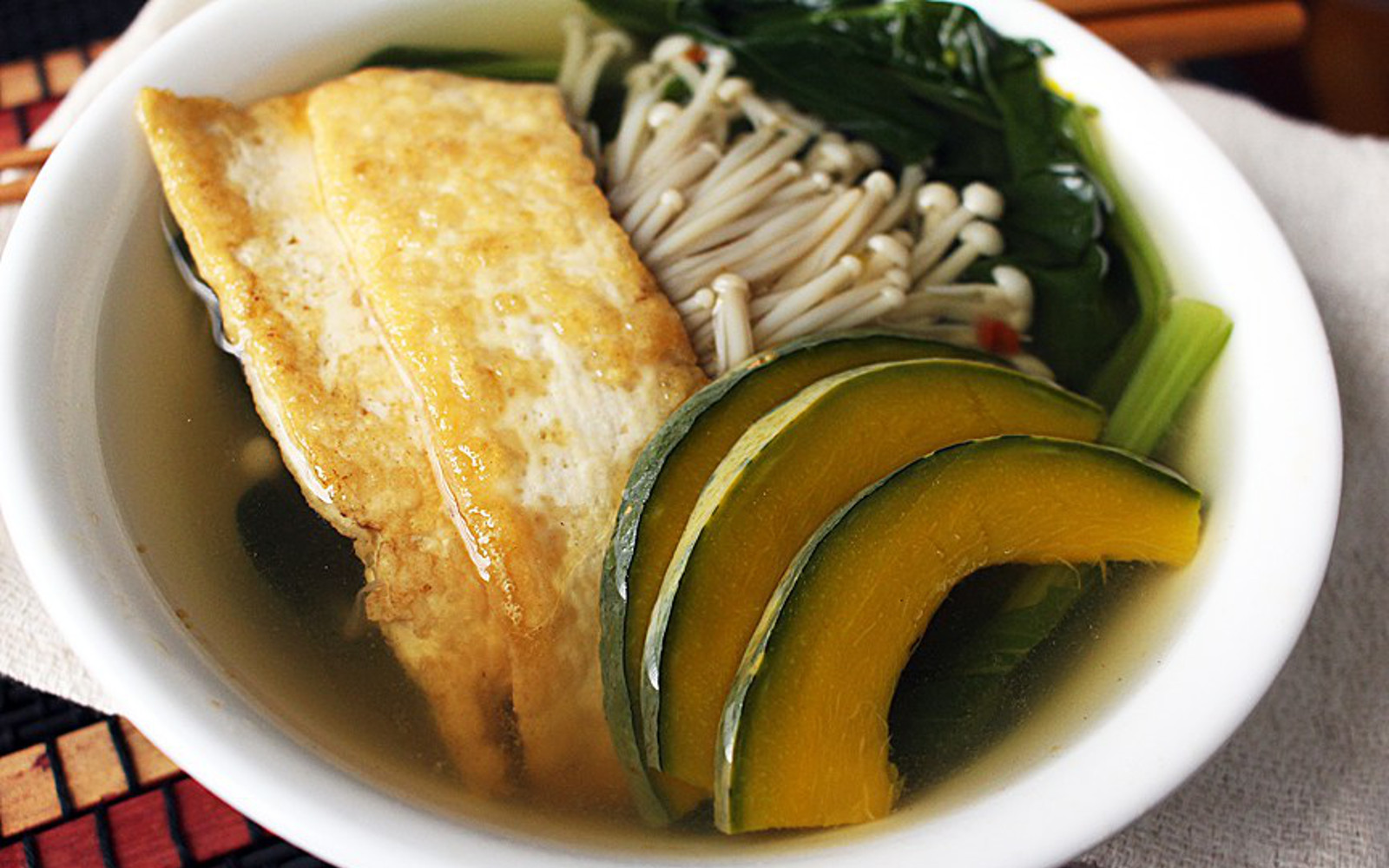 Asian Greens Soup With Tofu and Enoki Mushrooms