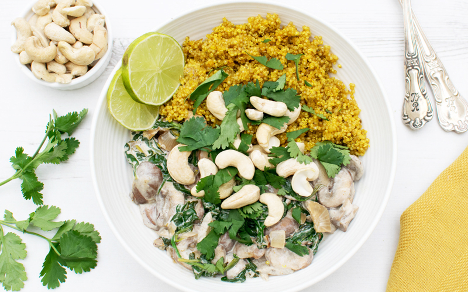 Creamy Mushrooms and Spinach with Turmeric Quinoa