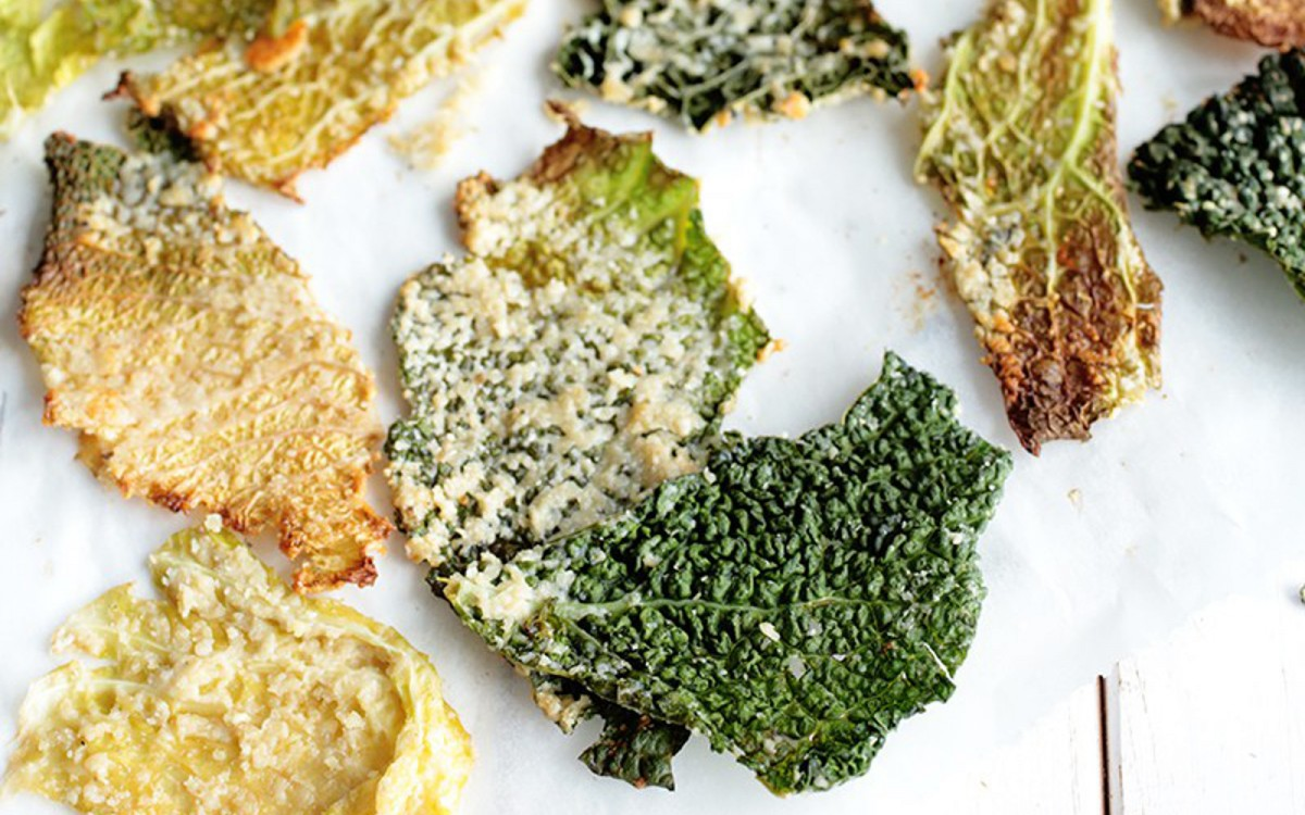 Cheesy Savoy Cabbage Chips Vegan One Green Planet