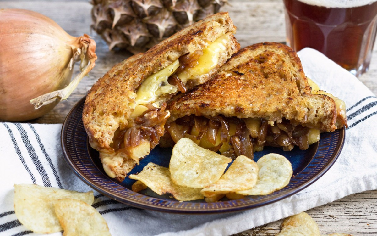 Vegan Grilled Cheese With Caramelized Onions and Pineapple