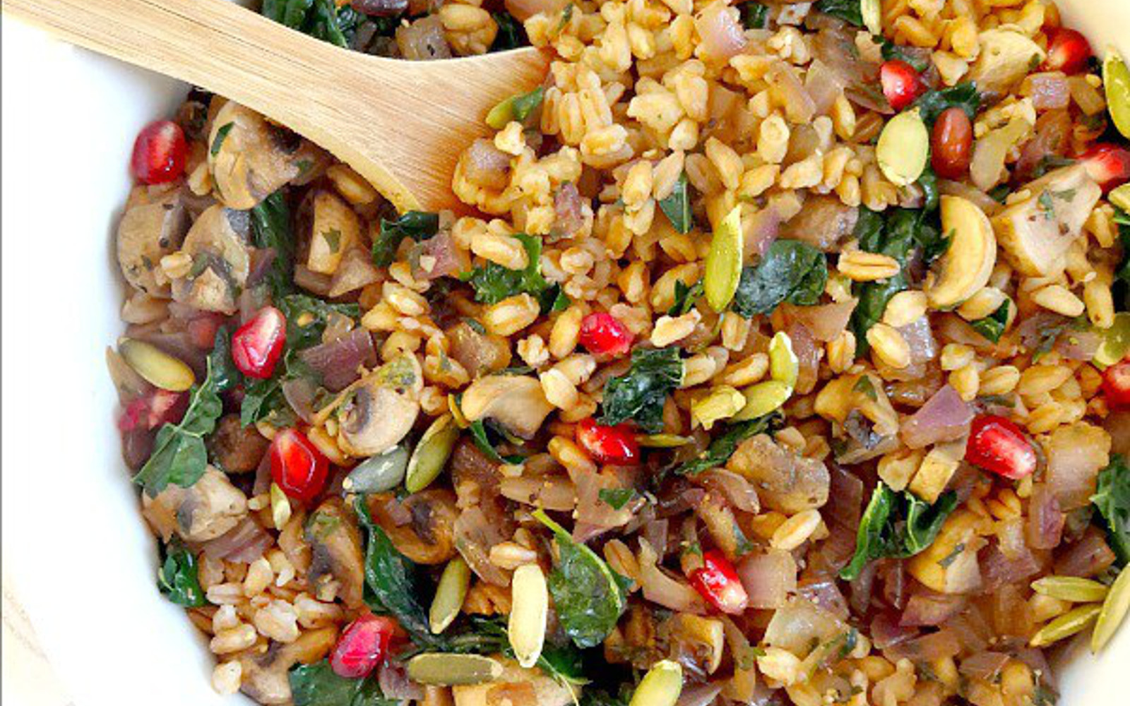 Mushrooms and Kale Farro Salad