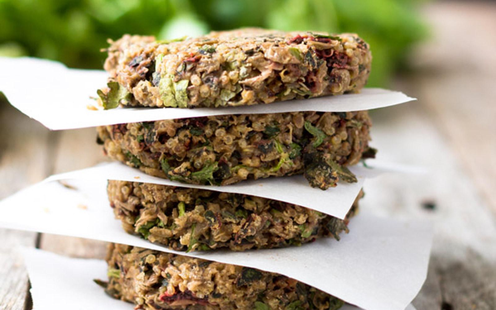 swiss chard lentil quinoa burger
