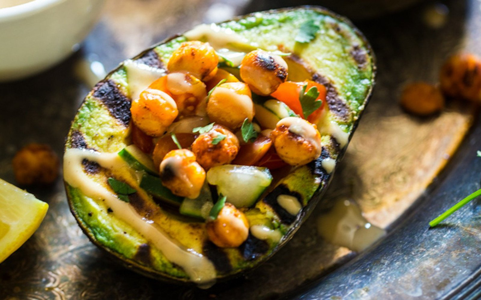 grilled chickpea-stuffed avocado