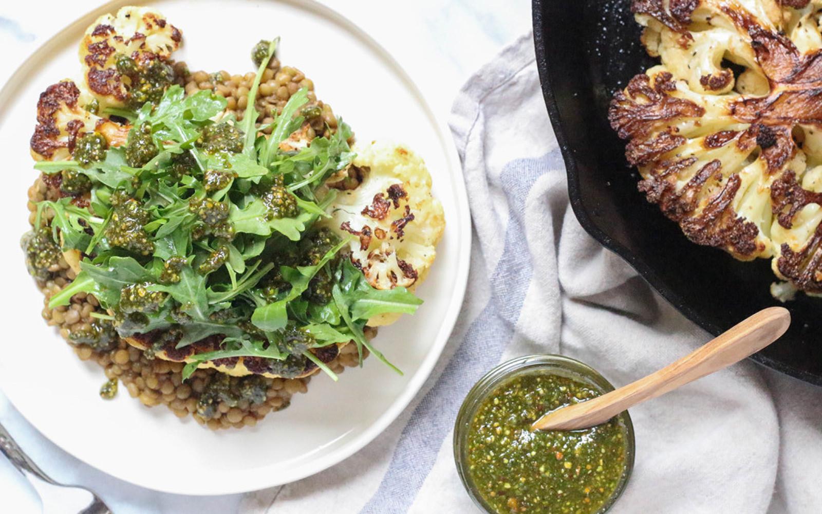 Cauliflower Steaks With Pistachio Mint Pesto