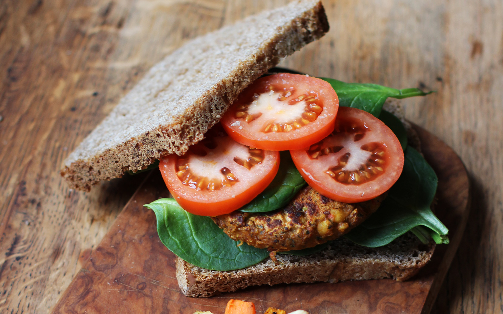 Chickpea and Spinach Burger b