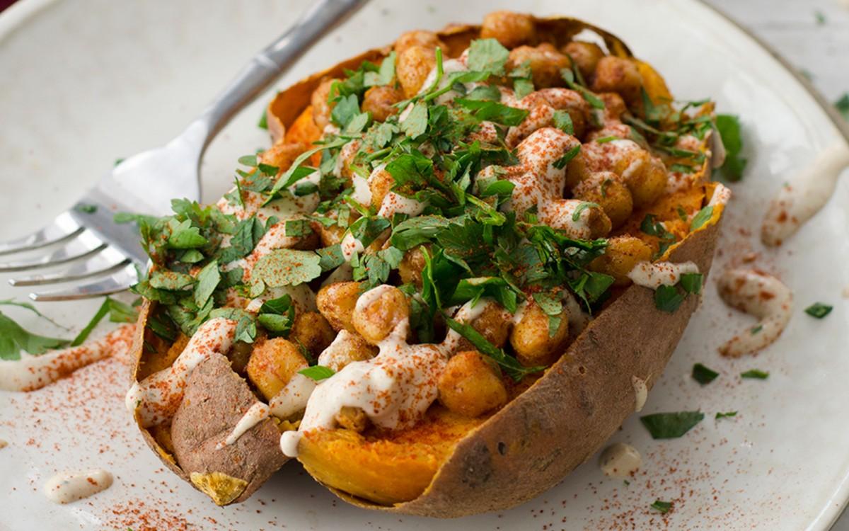 Vegan High Protein Chickpea-Stuffed Sweet Potatoes With Garlic Tahini Sauce