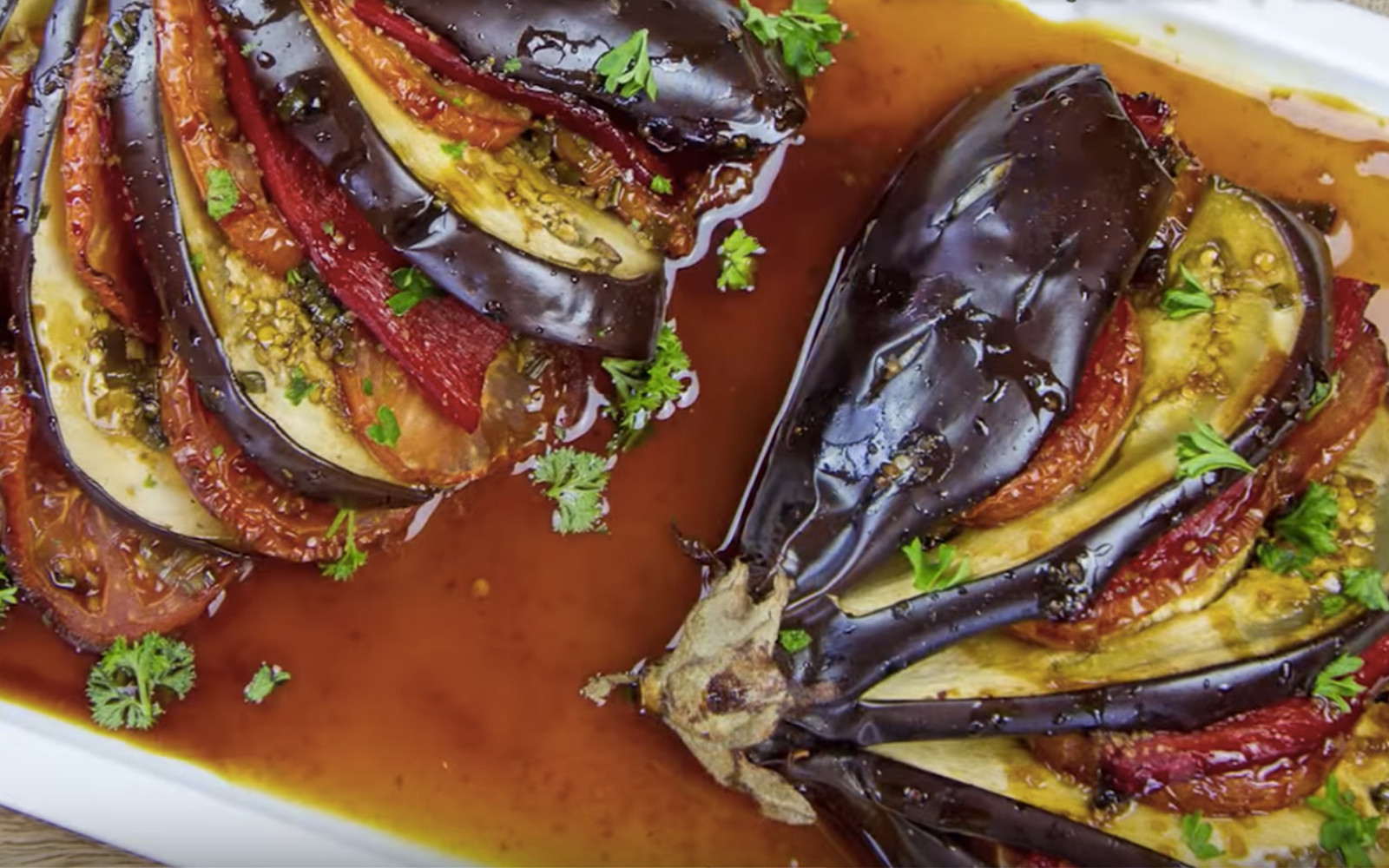 Stuffed eggplant with maple balsamic glaze