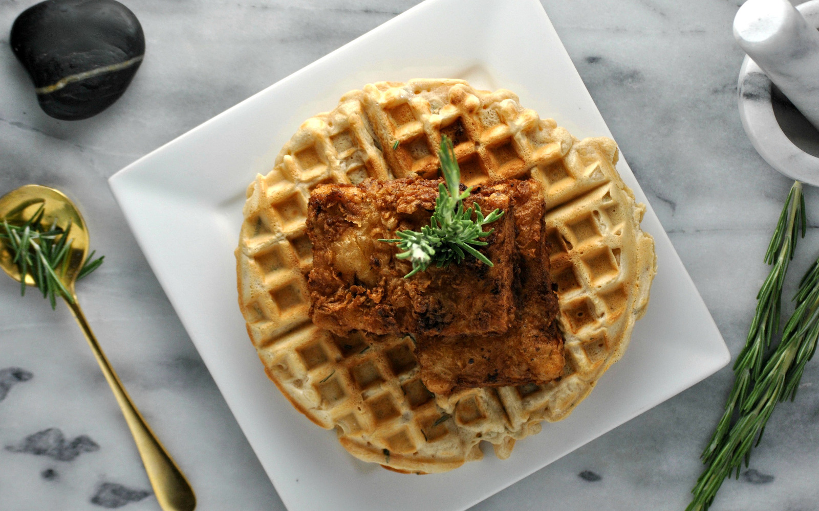 Vegan chicken and waffles