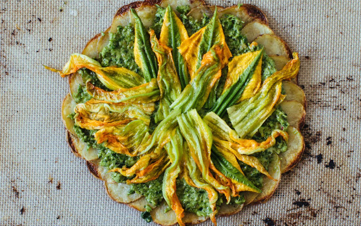 Garlic Scape Potato Crust Pizza