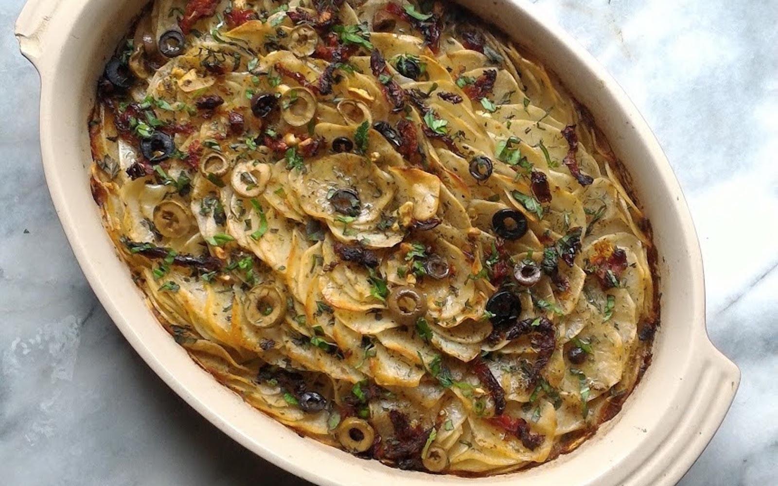 greek hasselback potato casserole
