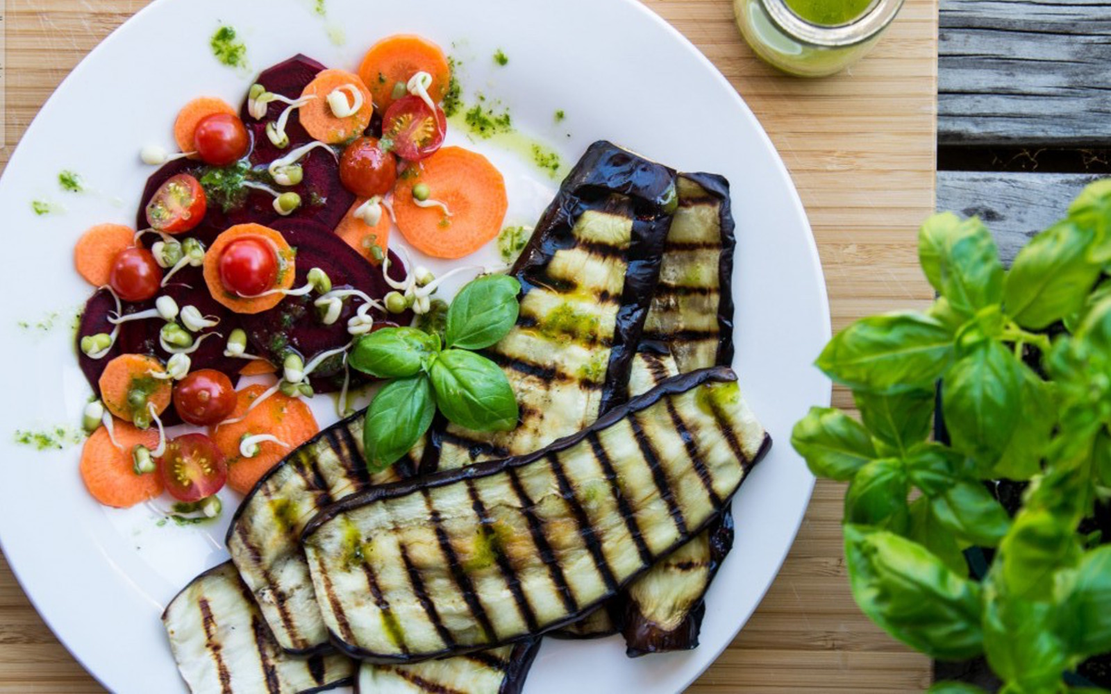 Grilled Eggplant With Lemon Basil Drizzle
