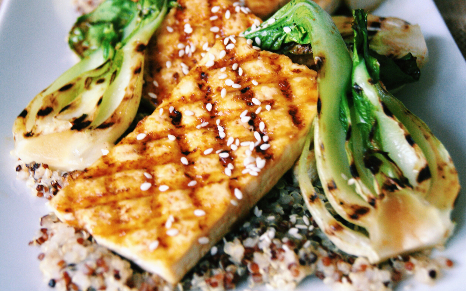 Grilled Tofu Steaks With Orange Ginger Glaze