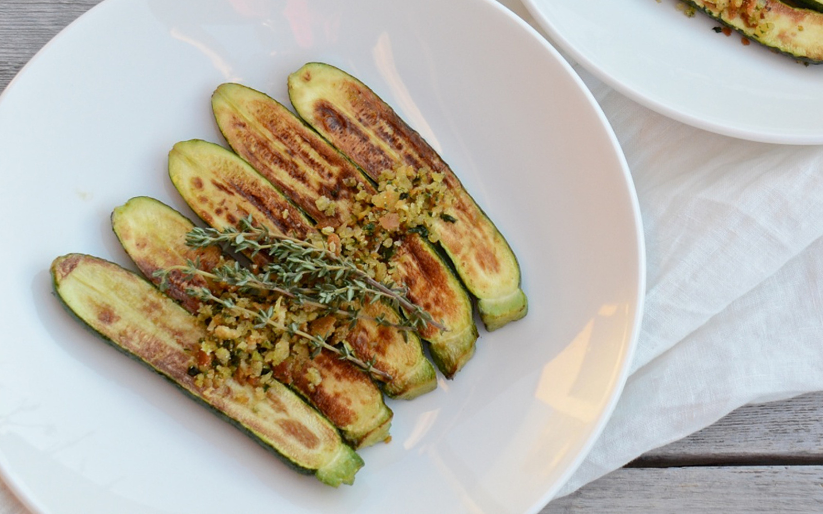Grilled Zucchini With Herbed Crumbs