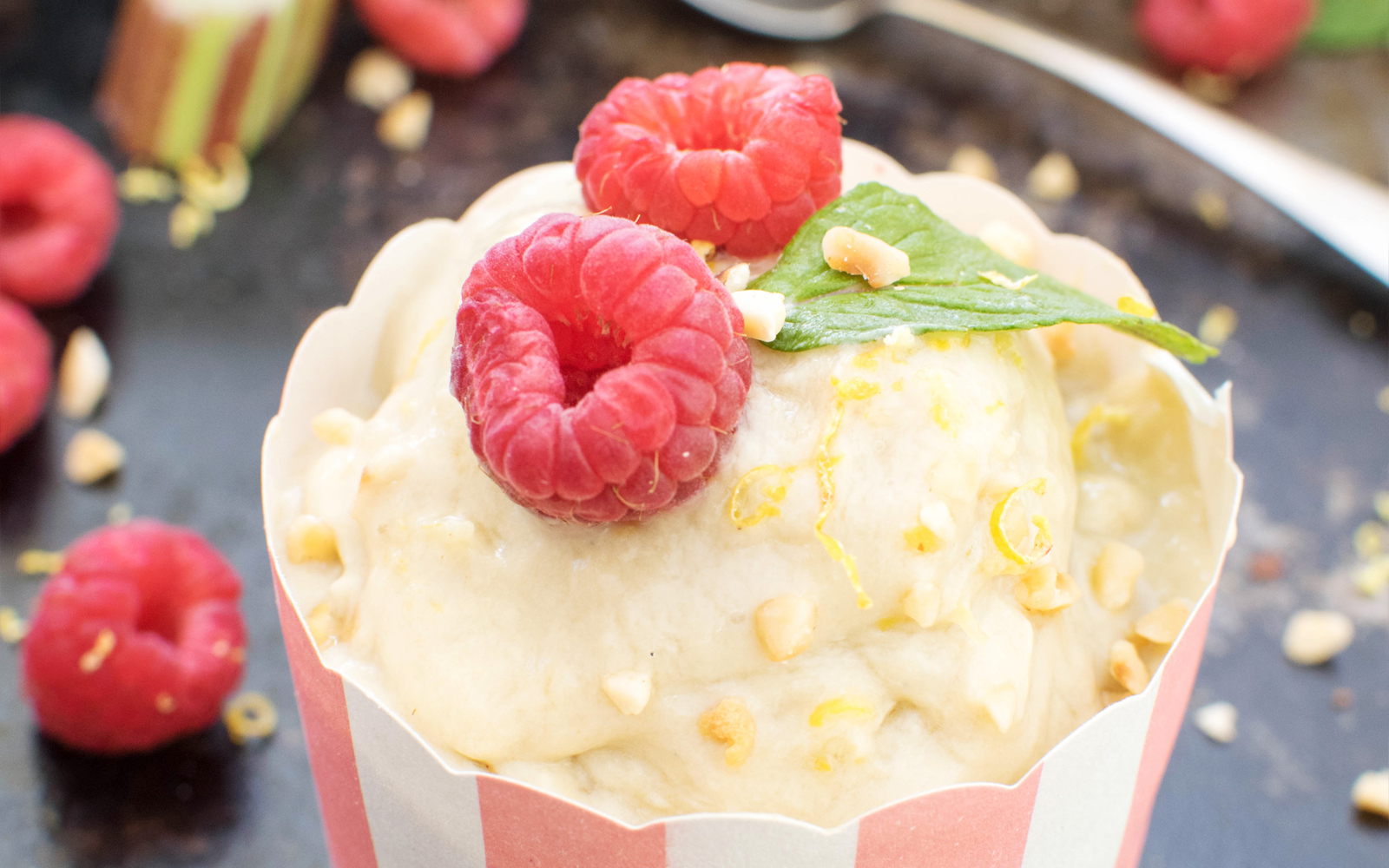 Rhubarb and Lemon Ice Cream v