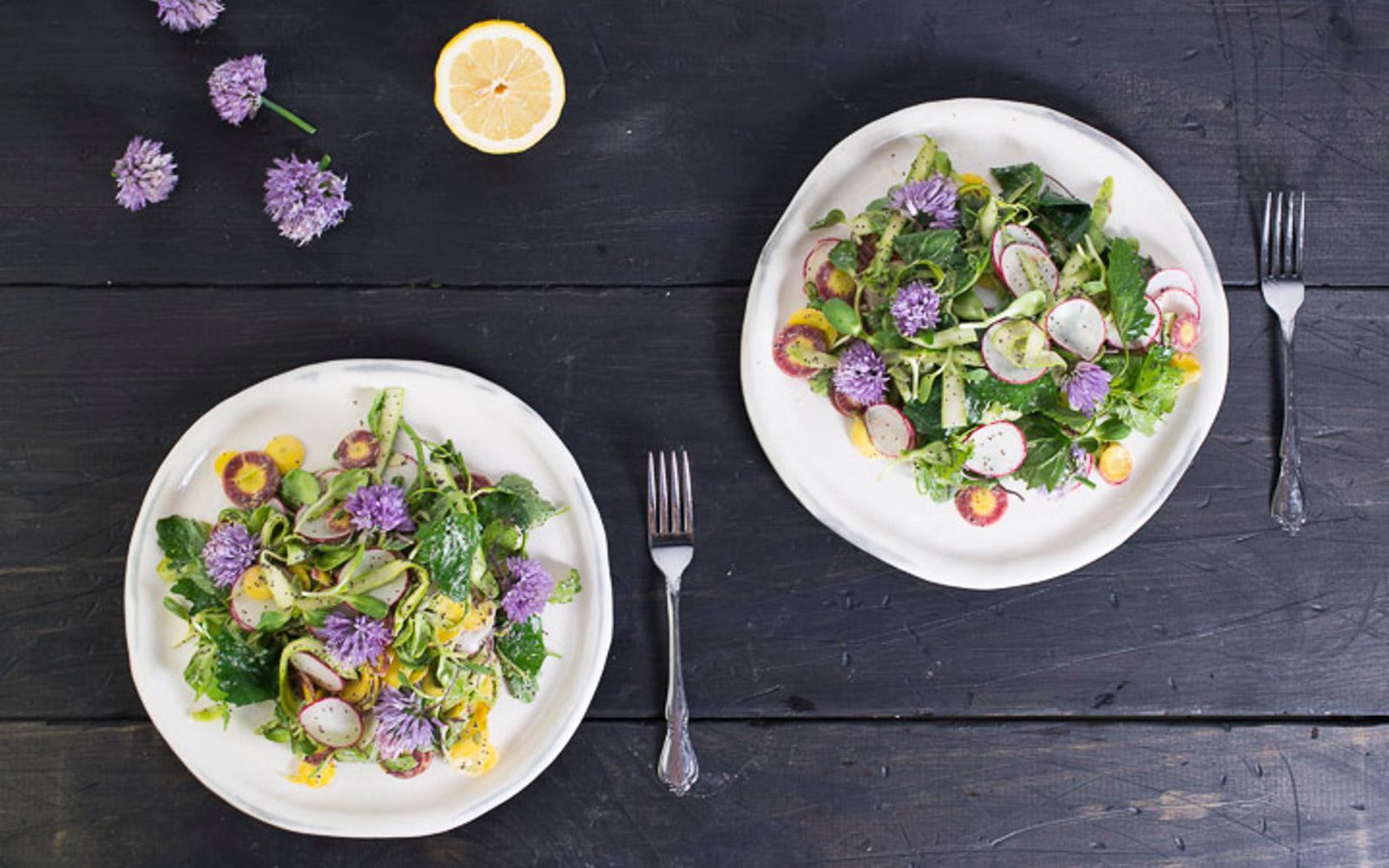 Wild spinach and asparagus salad 2