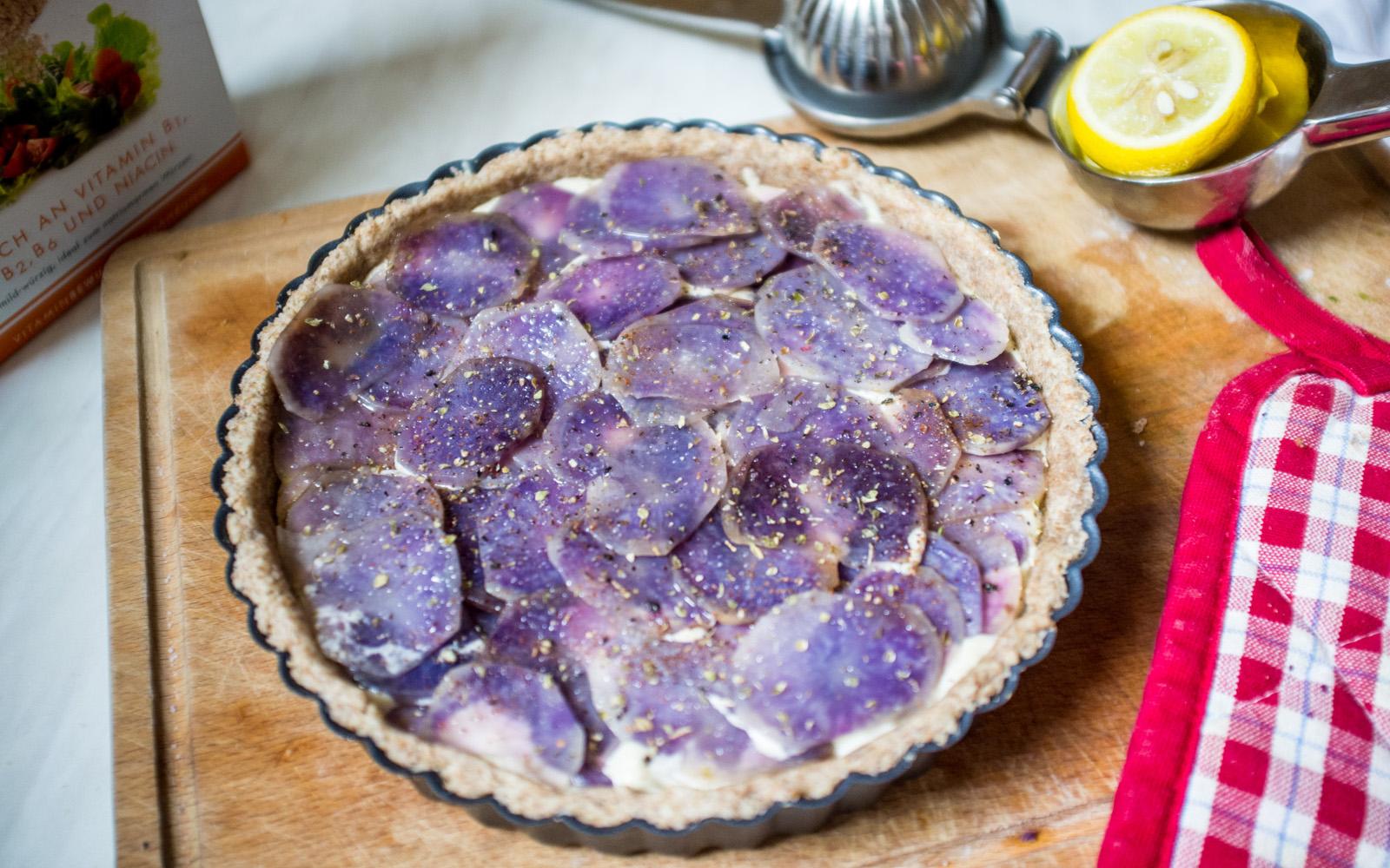 Cheesy Purple Potato Tart