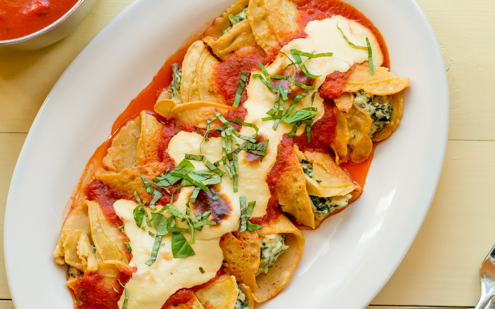 Crispelle With Spinach, Ricotta, and Marinara