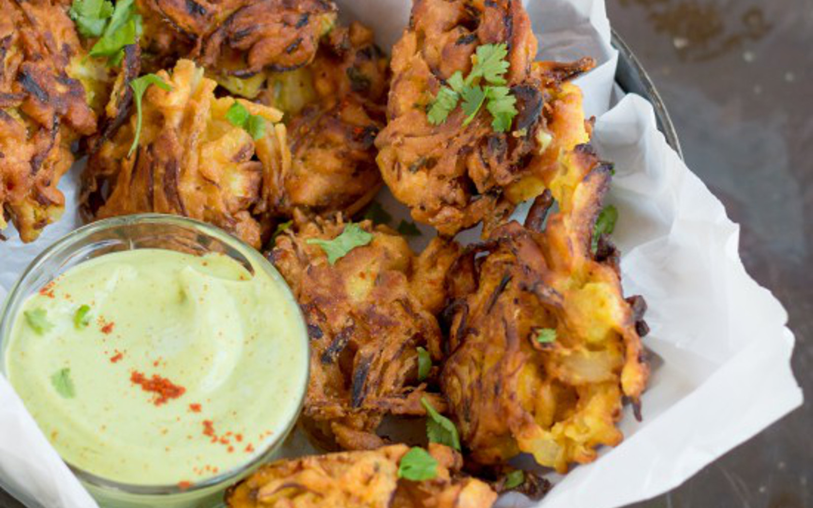 Onion Pakoras With Avocado Dipping Sauce