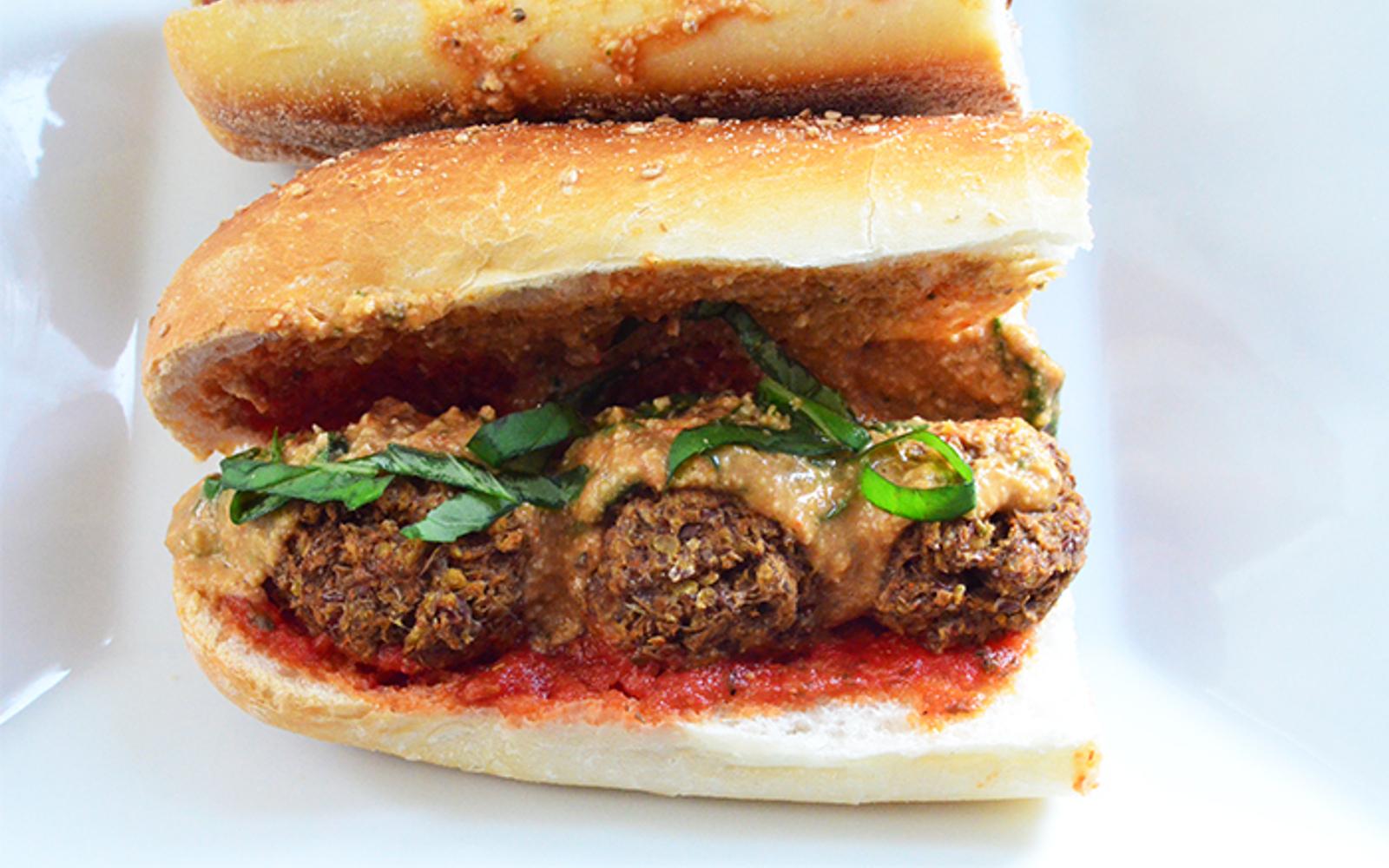 Vegan Lentil Meatball Marinara Sandwich