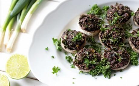 Pesto and Olive Stuffed Mushrooms