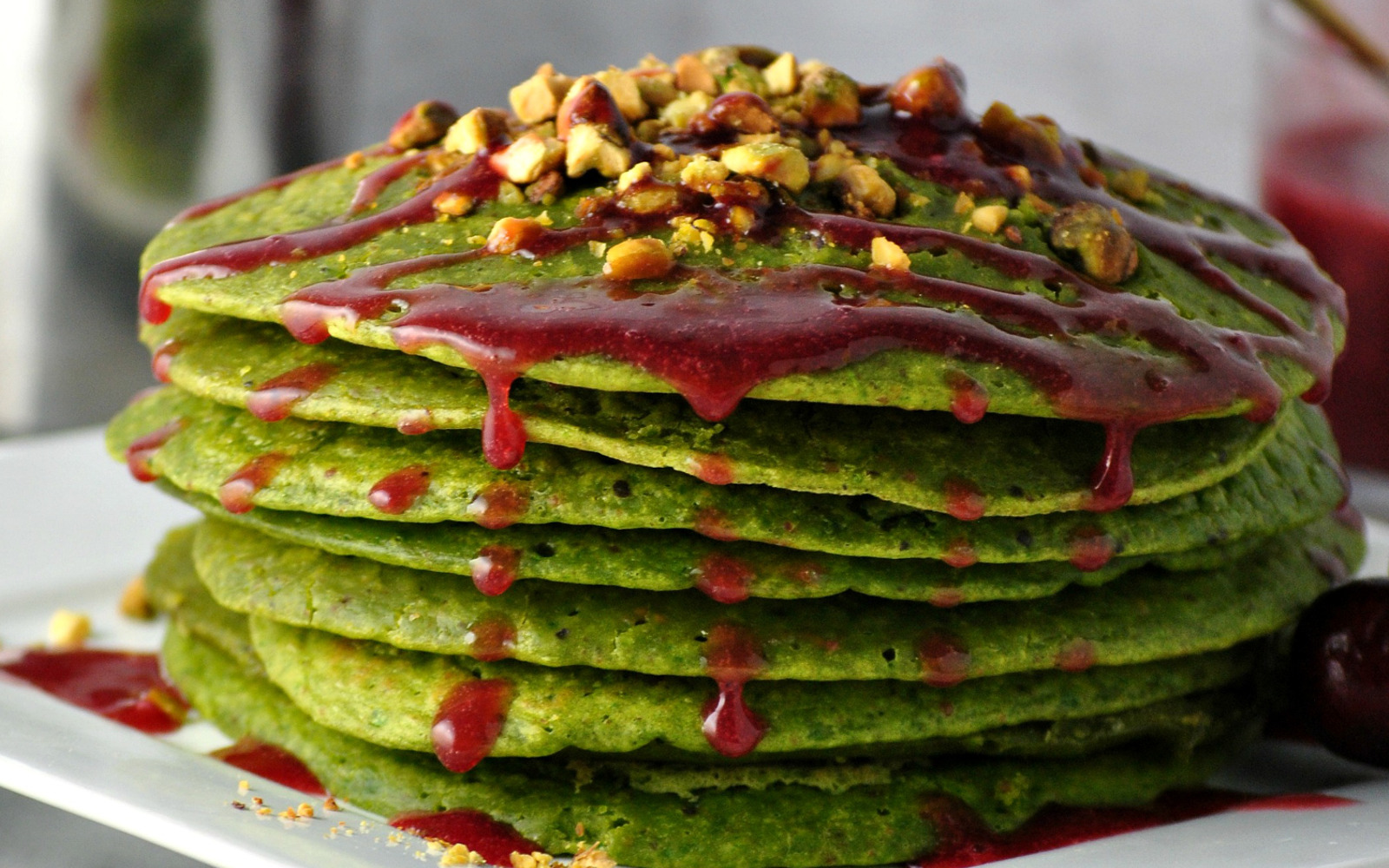 Pistachio Pancakes With Blueberry Syrup