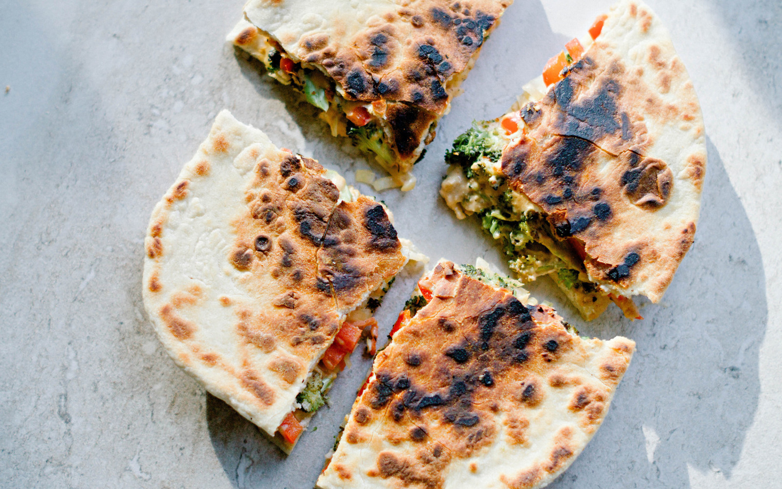 Vegan Roasted Broccoli and Sauerkraut Quesadilla