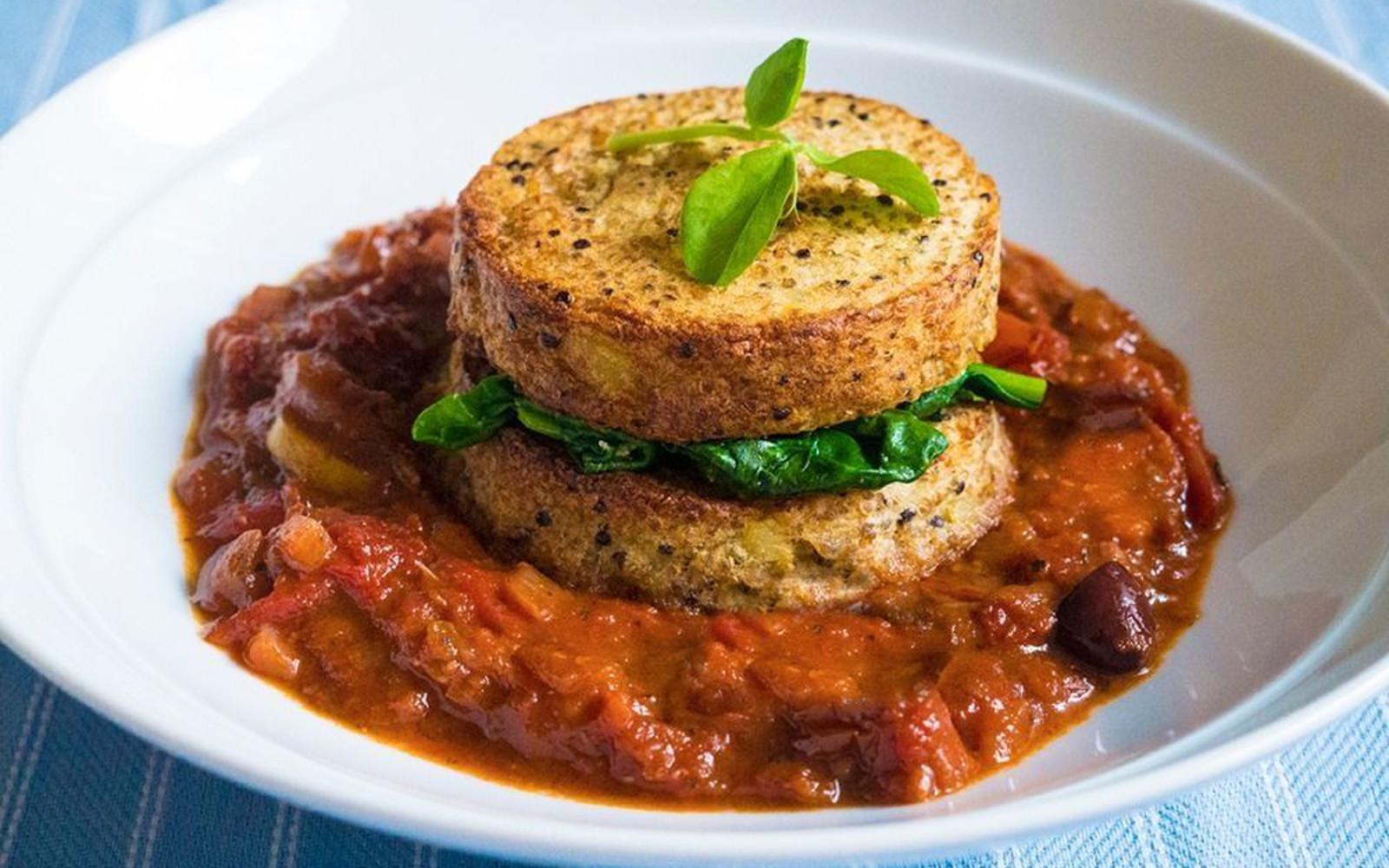 Quinoa Potato Cakes in a Tomato Sauce [Vegan]