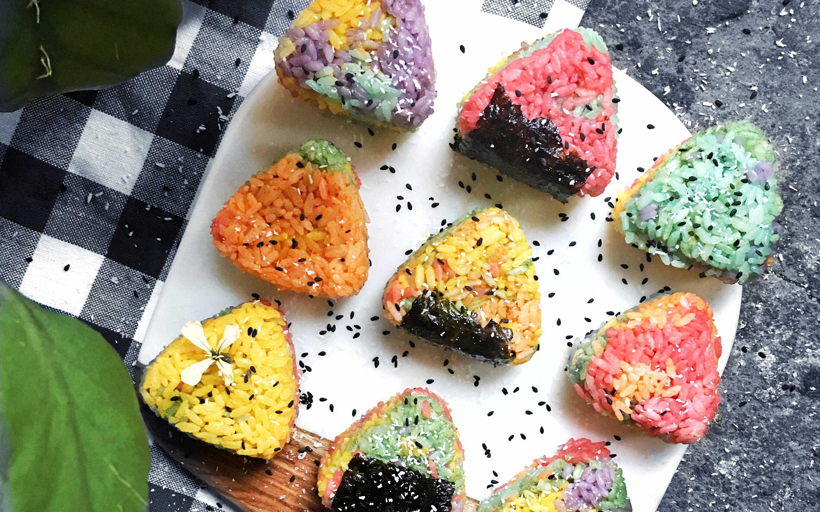 Rainbow Onigiri With Coconut and Pea Filling