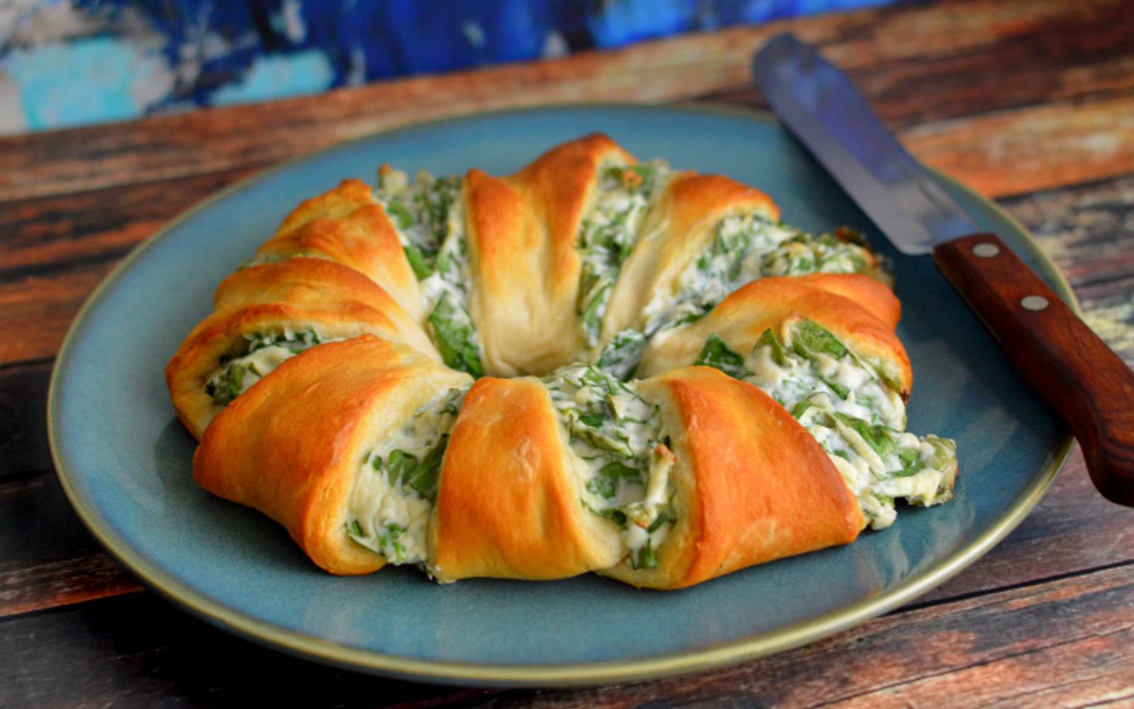 vegan Spinach Dip Crescent Roll Ring