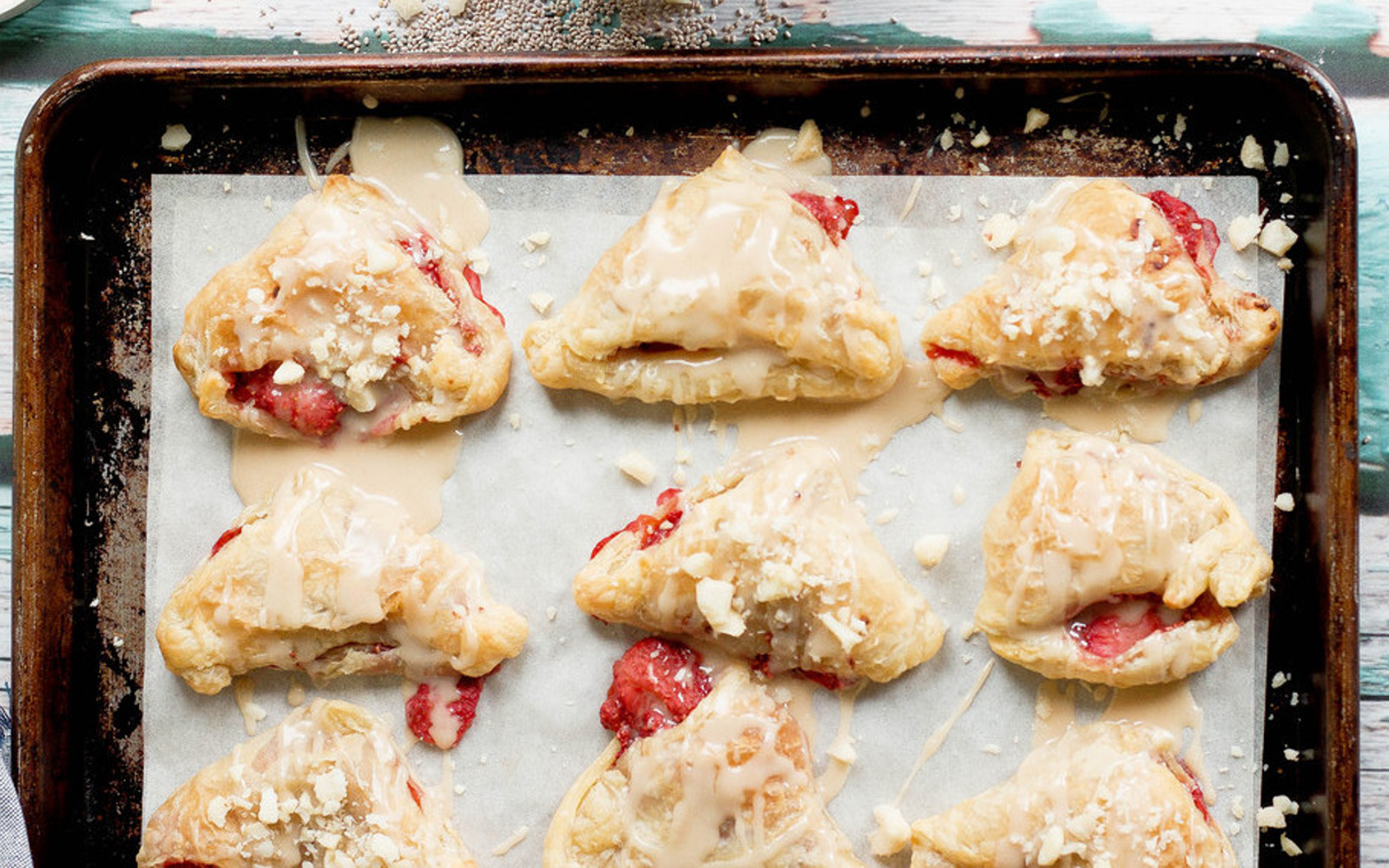 Strawberry Turnovers With Tahini Maple Drizzle