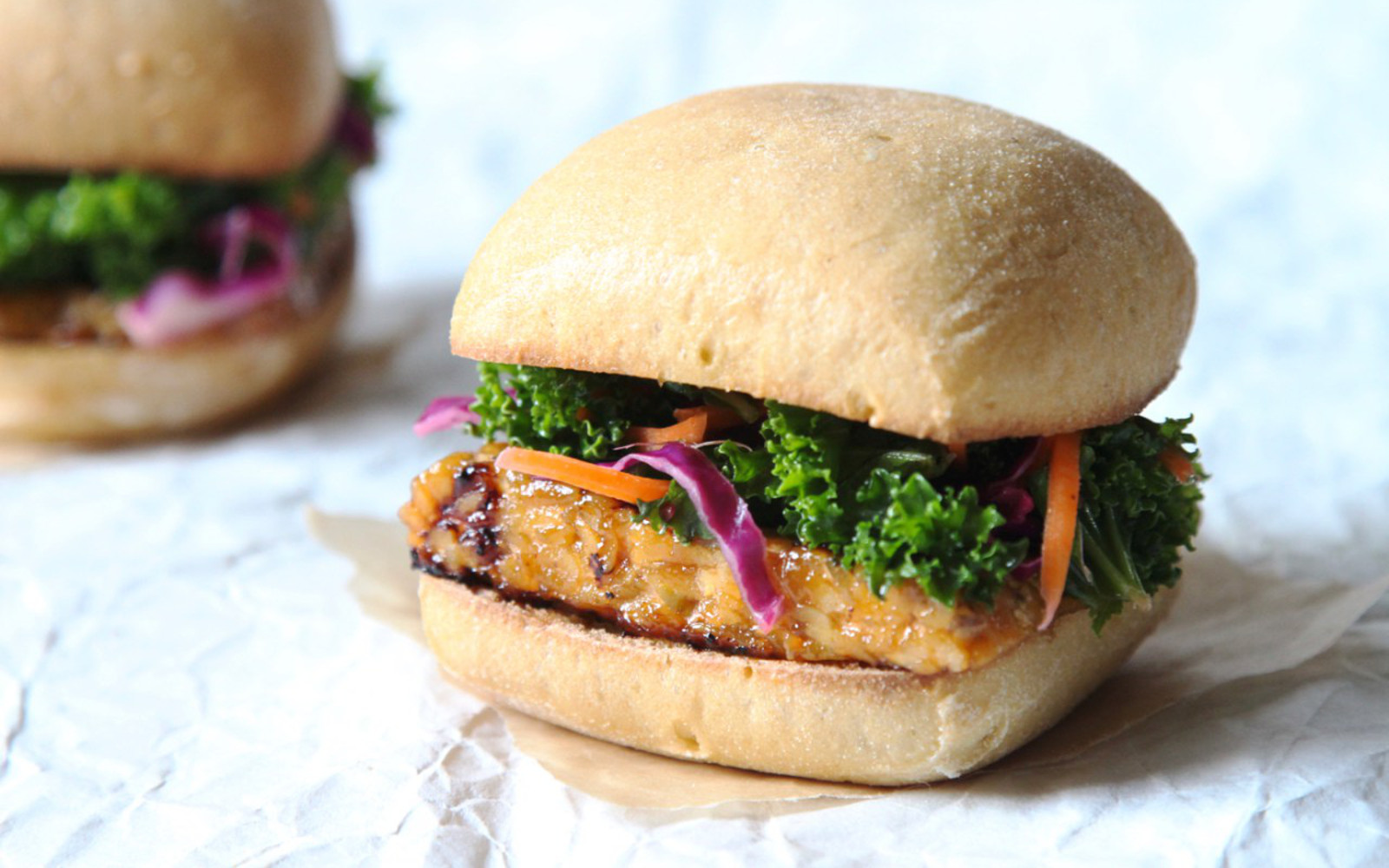 Grilled Barbecue Tempeh Slider With Kale Slaw
