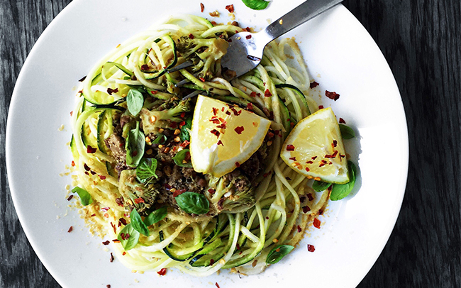 Zoodles With Spicy Lentil and Mushroom Sauce