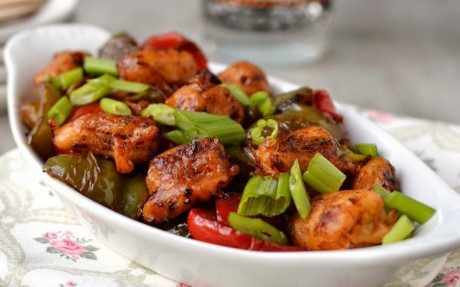 Baby Corn Pakora and Spicy Bell Pepper Stir Fry