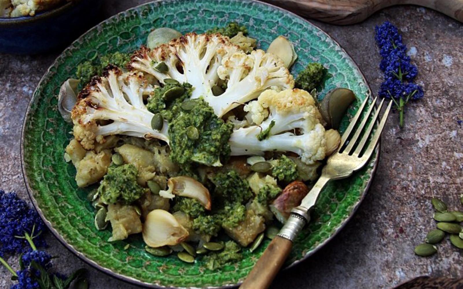 Cauliflower Steak With Celeriac and Caper Dressing