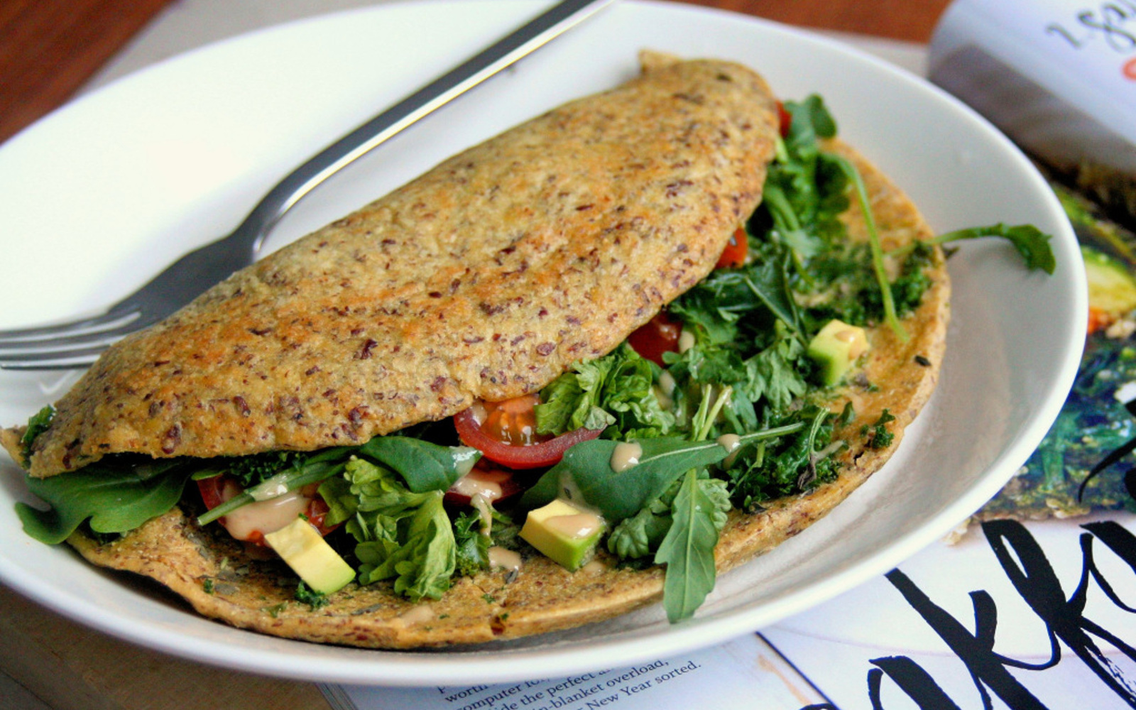 Chickpea Flour Omelette With Spinach and Kale