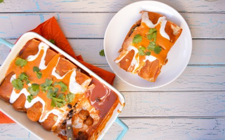 Chorizo-Spiced Sweet Potato Enchiladas