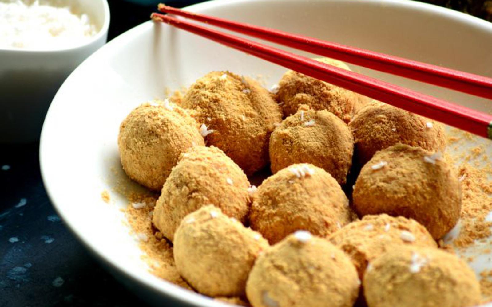 Coconut Kinako Dango: Indian and Japanese Rice Dumpling Fusion