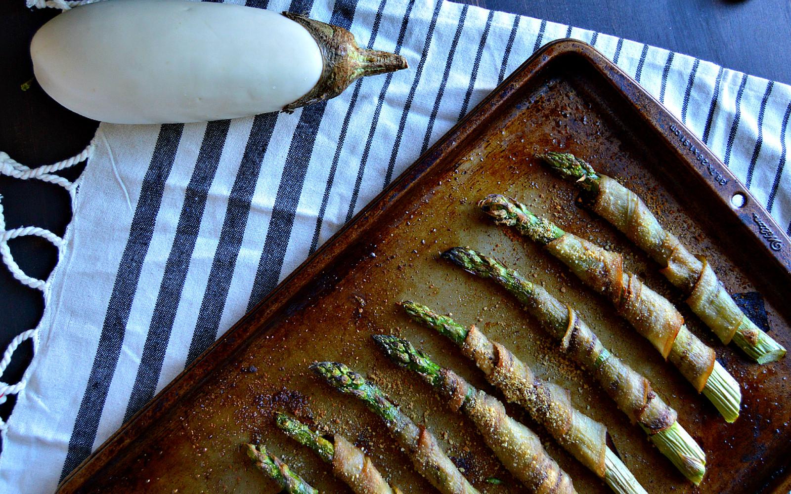 vegan eggplant bacon-wrapped asparagus
